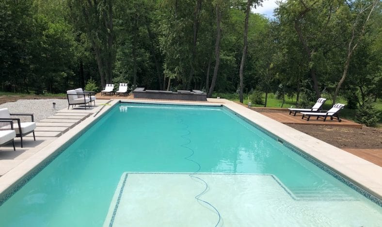 Salt water pool project in North Liberty, Iowa